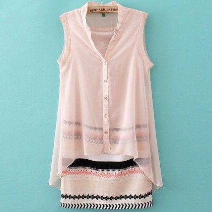 Women Long Shirt Blusa Fake 2 Pieces Pink - STUPA FASHION