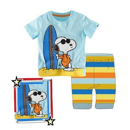 Blue Surf Boat Print T-shirt & Short Set - Lil Mantra
