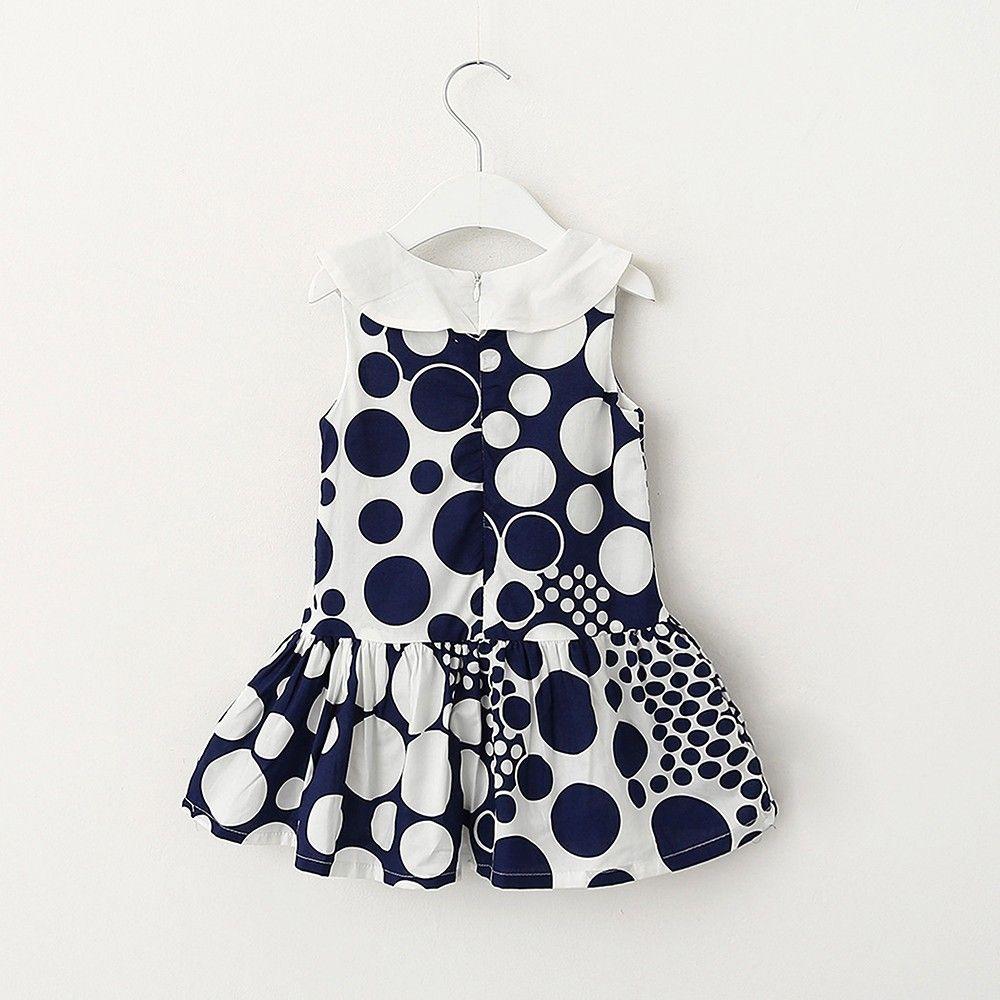 White And Navy Dot Print Dress - Lil Mantra