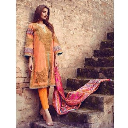 Bright Peach Cotton Print With Embroidery Dress Material - Afreen