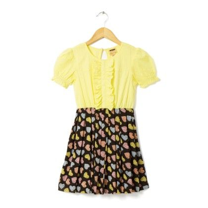 Yellow And Black Heart Print Dress - Hugs & Tugs