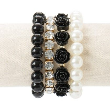 Diamond Studded With Rose And Pearl Black Bracelet - Wilfred Jewellery