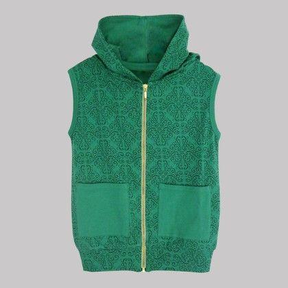 Green Hooded Jacket Atun Print Allover - A.T.U.N