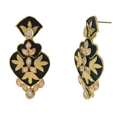 Black Matte Finish Mina With Kundan And White Stones - Trends