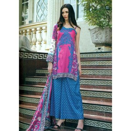 Turquoise & Fuchsia Printed Semistitched Suit - Mauve Collection