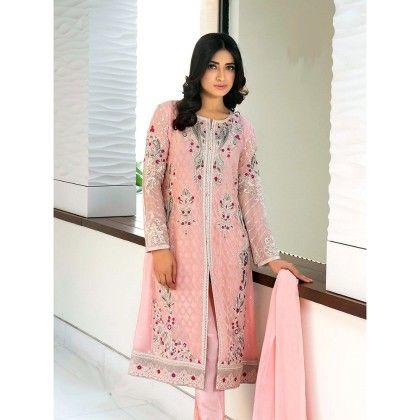 Decent Pink Georgette Embroidered Dress Material - Afreen