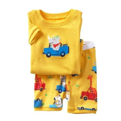 Yellow Animals Car Print T-shirt And Short Set - Lil Mantra