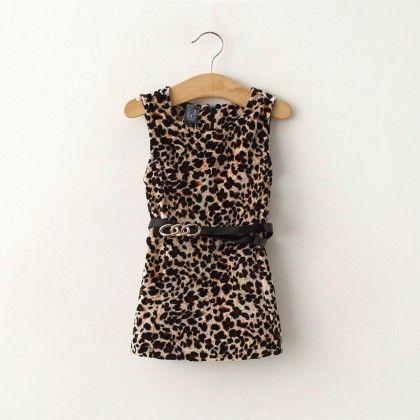 Leopard Straight Cut Fashion Dress - Petite Kids