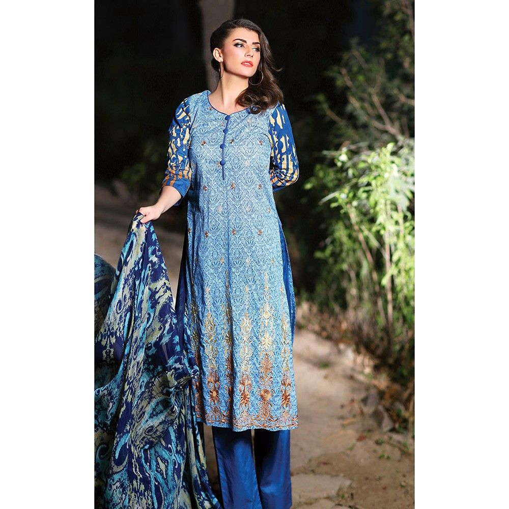 Blue Embroidered Semistiched Summer Dress Material - Mauve Collection