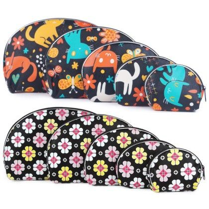 Women's Black Kitten Motif And Black Floral Print Multipurpose Pouch Or Purse - Combo Of 10 - Uberlyfe