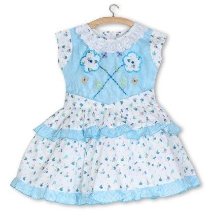 Flared Floral Embroidery Printed Dress - Blue - BownBee