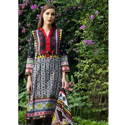 Red Black Semistitched Printed Suit - Mauve Collection