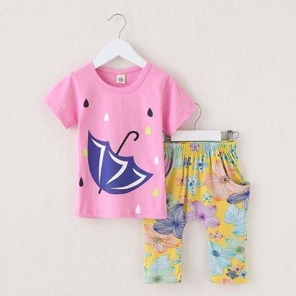 Umbrella Printed Top & Capri Set- Pink - Lil Mantra