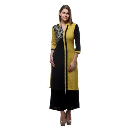 Yellow & Black Embroidery Kurti & Plazzo - Riti Riwaz