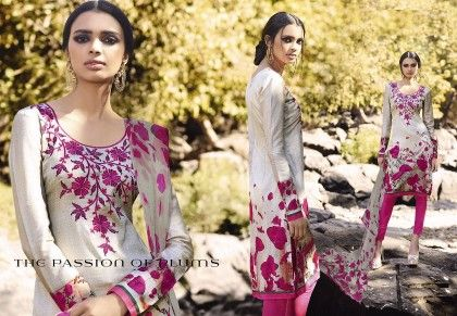 Cotton Satin Print With Embroidery Suitmet22 - Mauve Collection