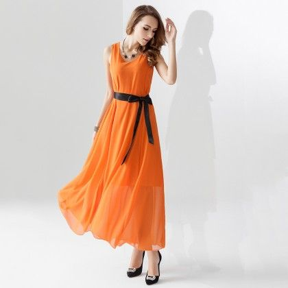 Orange Long Maxi Dress - Dell's World