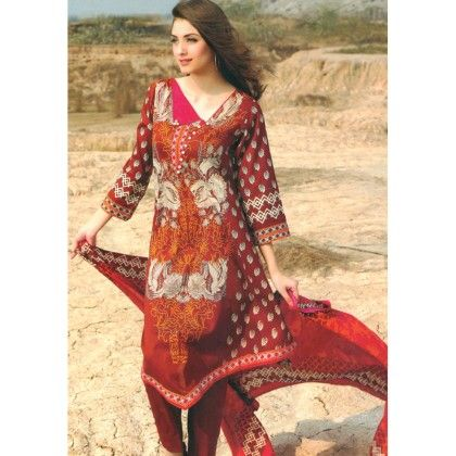 Maroon & Rust Printed Semistitched Suit - Mauve Collection