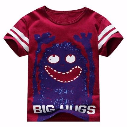Maroon Big Hugs Print Short Sleeves Tshirt - Lil Mantra