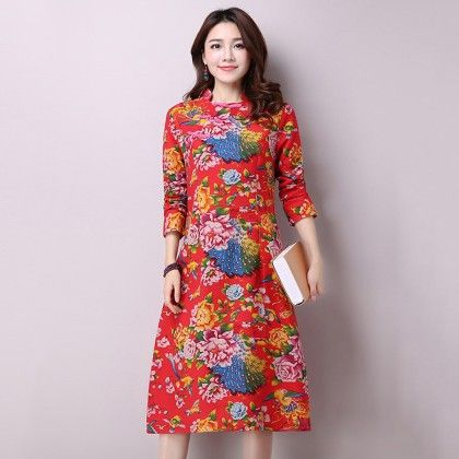 Floral Print Chinese Collar Red Dress - Mauve Collection