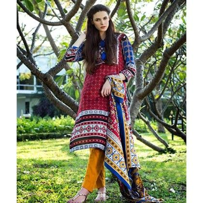 Red & Yellow Printed Semistitched Suit - Mauve Collection