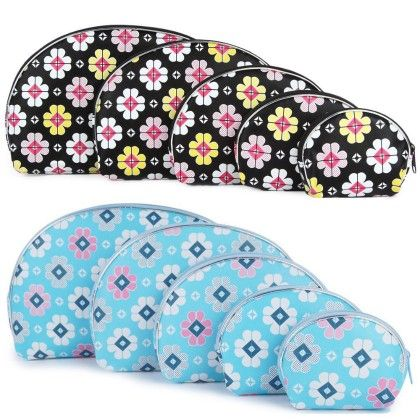 Women's Light Blue And Black Multipurpose Pouch Or Purse With Floral Print - Combo Of 10 - Uberlyfe