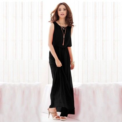Black Layered Long Dress - Dell's World