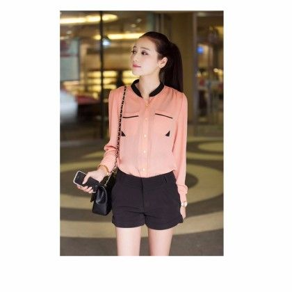 Orange Collared Casual Top - STUPA FASHION