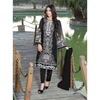 Decent Black Georgette Embroidered Dress Material - Afreen