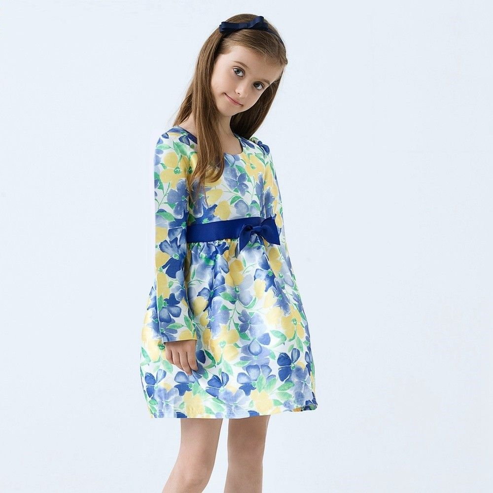 Classy Floral Print Dress With Bow Applique On Waist - Blue - Baby Kids