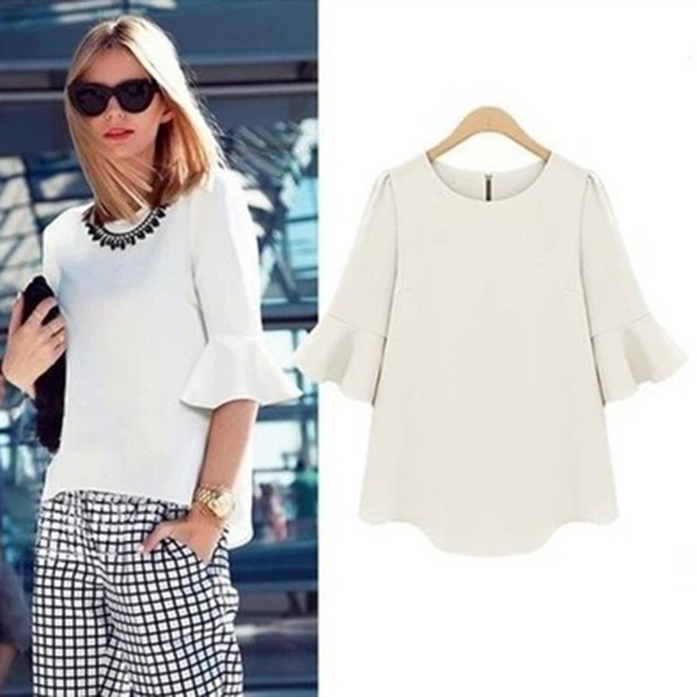 Bat Wing Sleeves White Top - Dell's World