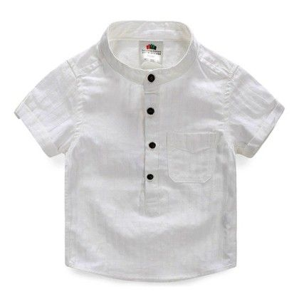 White Neck Band Shirt For Boy's - Mauve Collection