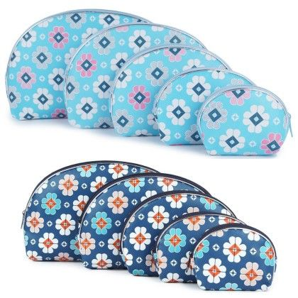 Women's Dark Blue And Light Blue Multipurpose Pouch Or Purse With Floral Print - Combo Of 10 - Uberlyfe