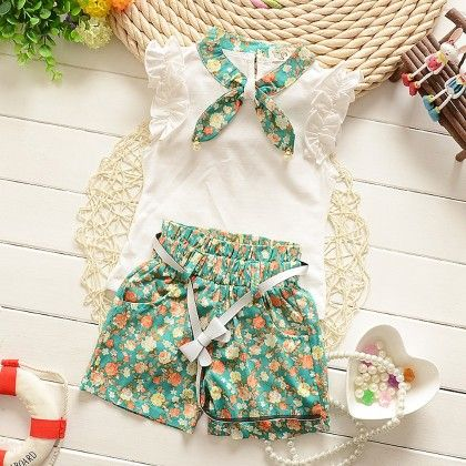 White Top With Floral Short Set - Lil Mantra