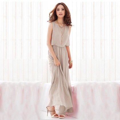 Gray Layered Long Dress - Dell's World