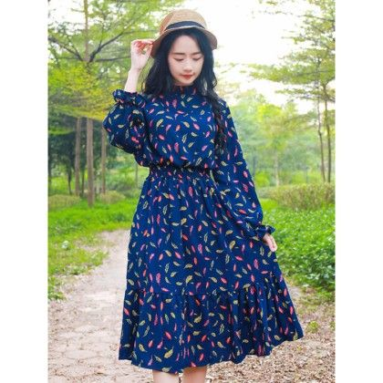 Vintage Style Chinese Collar Dress-multi - Mauve Collection