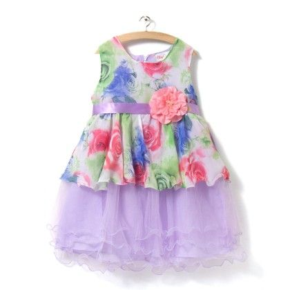 Purple Floral Print Dress With Net Layer - ChipChop