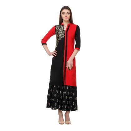 Red & Black Embroidery Kurti & Plazzo - Riti Riwaz