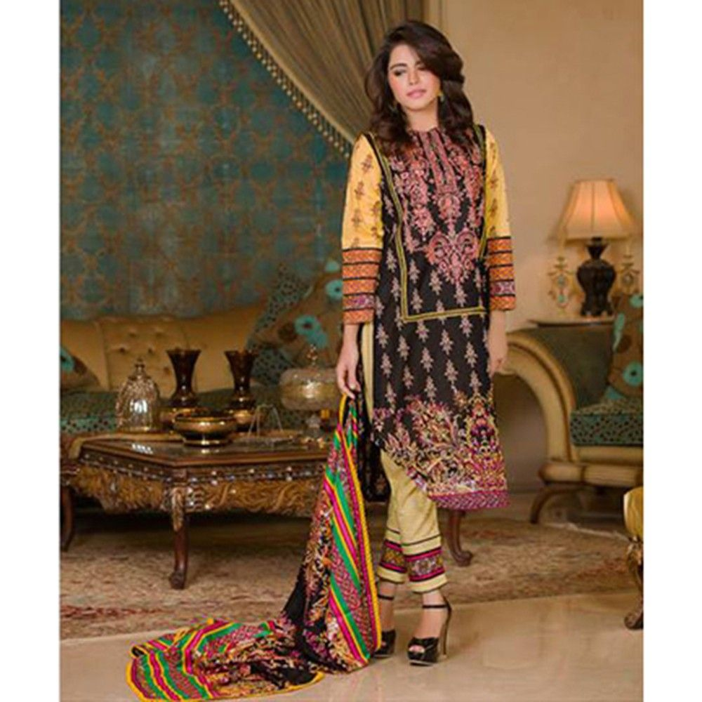 Black Embroidered Semistitched Dress Material - Mauve Collection