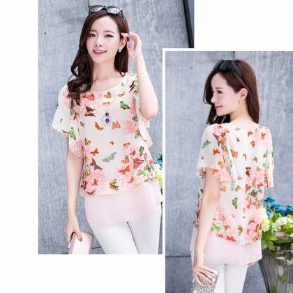 Pink Butterfly Printed Top - STUPA FASHION