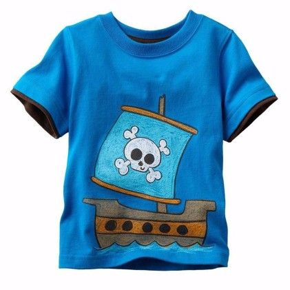 Blue Pirate Print Short Sleeves Tshirt - Lil Mantra