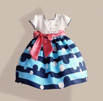 Blue Striped Bow Dress - Petite Kids