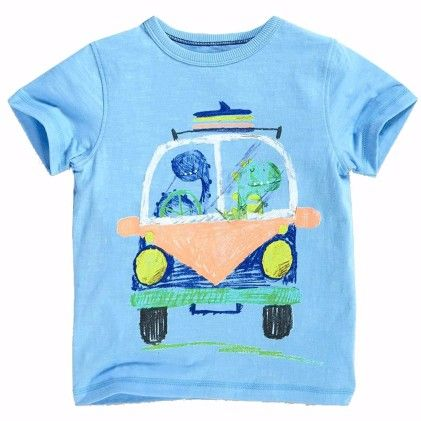 Blue Front Car Print Short Sleeves Tshirt - Lil Mantra