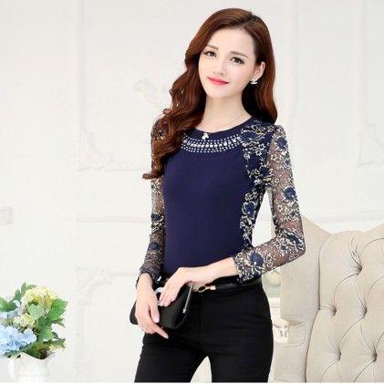 Women's Lace Blouse Shirt Blue - STUPA FASHION
