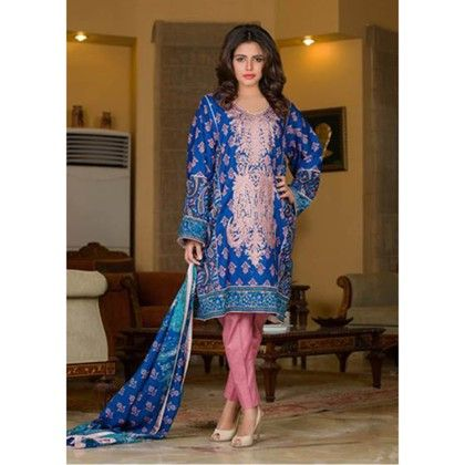Blue Embroidered Semistitched Suit - Mauve Collection