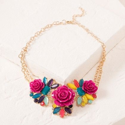 Pink Flower Necklace - Dell's World
