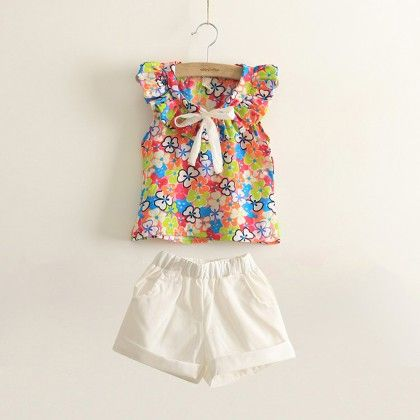 Floral Top With White Solid Short Set - Lil Mantra