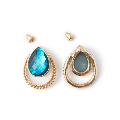 Earing Golden Border And Blue Stone Studed - Wilfred Jewellery
