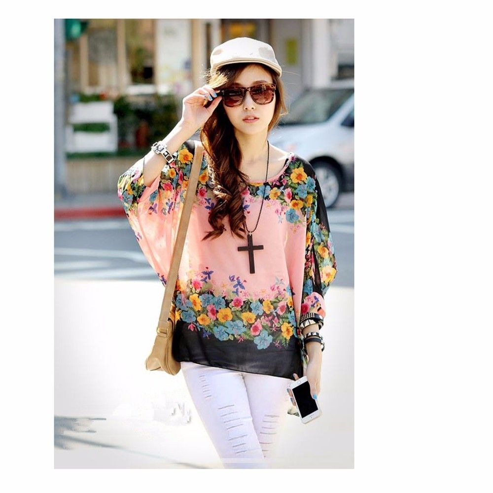 Pink Floral Casual Printed Top - STUPA FASHION
