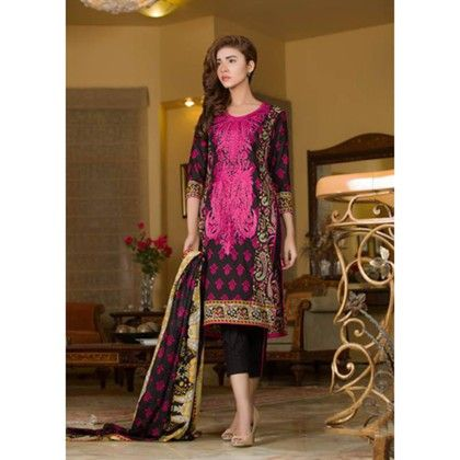 Black & Pink Embroidered Dress Material - Mauve Collection