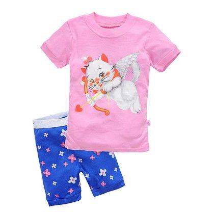 Pink Cat Cupid Print T-shirt & Pant Set - Lil Mantra